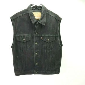 Vintage Levi's Black Denim Trucker Jacket Vest